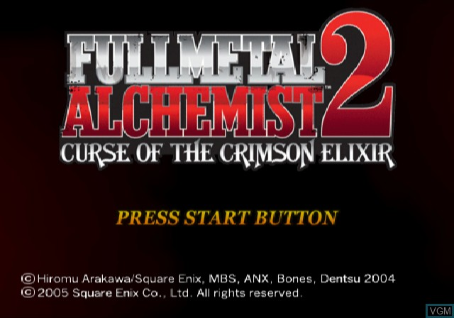 Title screen of the game Fullmetal Alchemist 2 - Curse of the Crimson Elixir on Sony Playstation 2