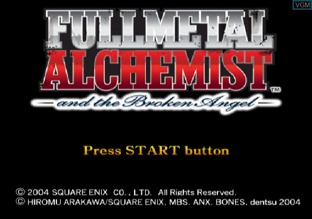 Title screen of the game Fullmetal Alchemist and the Broken Angel on Sony Playstation 2