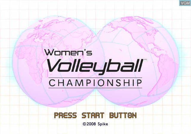 Title screen of the game Women's Volleyball Championship on Sony Playstation 2