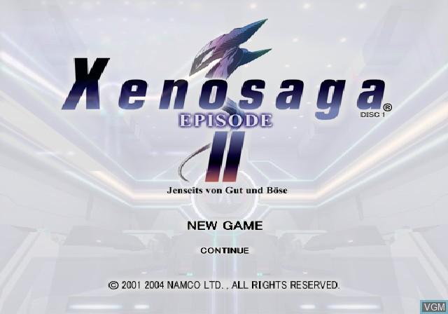 Title screen of the game Xenosaga Episode II - Jenseits von Gut und Bose on Sony Playstation 2