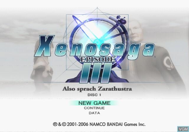 Title screen of the game Xenosaga Episode III - Also sprach Zarathustra on Sony Playstation 2