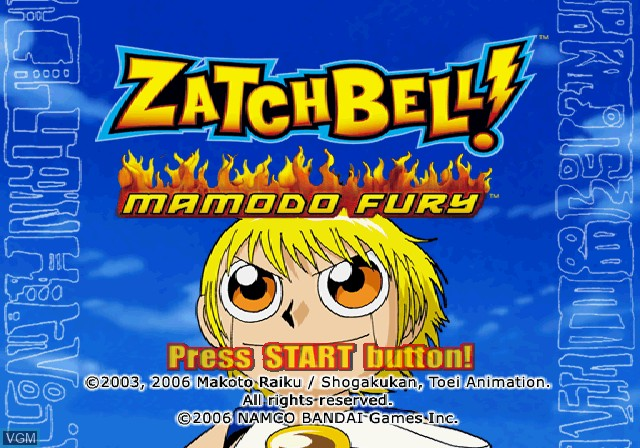 Title screen of the game Zatch Bell! Mamodo Fury on Sony Playstation 2