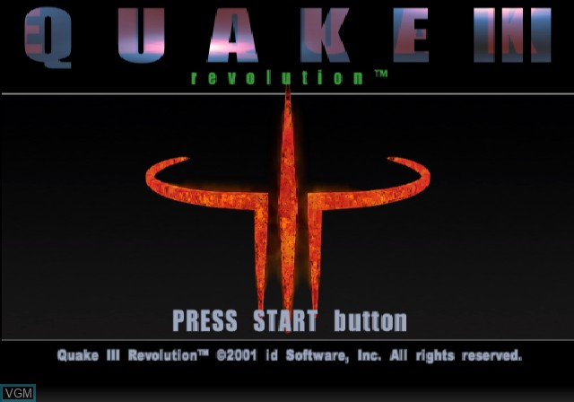 Title screen of the game Quake III Revolution on Sony Playstation 2