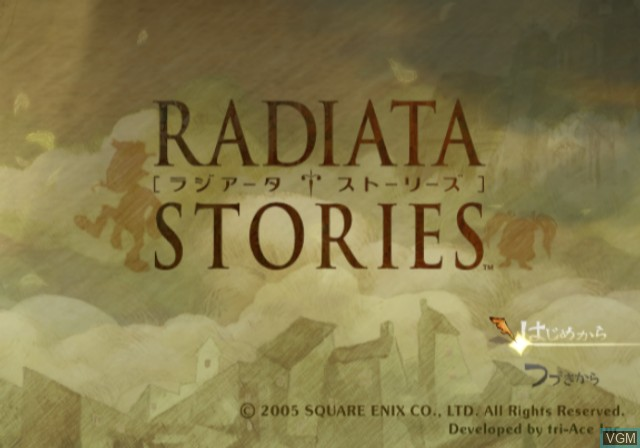 Title screen of the game Radiata Stories on Sony Playstation 2