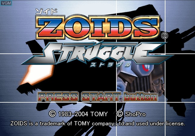 Title screen of the game Zoids Struggle on Sony Playstation 2