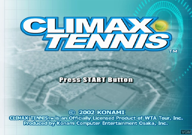 Title screen of the game Climax Tennis - WTA Tour Edition on Sony Playstation 2