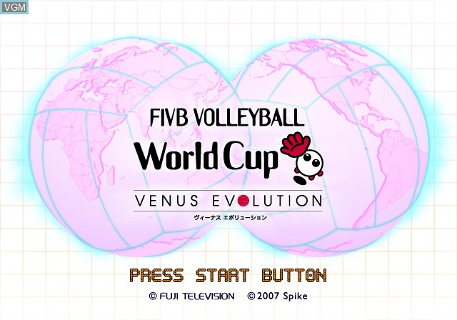 Title screen of the game FIVB Volleyball World Cup - Venus Evolution on Sony Playstation 2