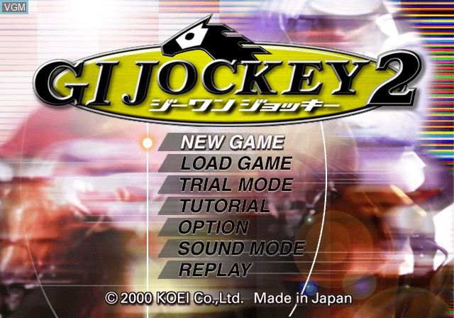 Title screen of the game G1 Jockey 2 on Sony Playstation 2