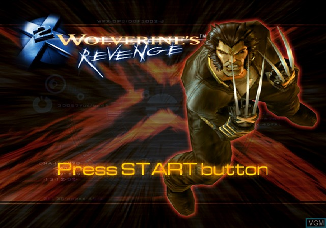 Title screen of the game X2 - Wolverine's Revenge on Sony Playstation 2
