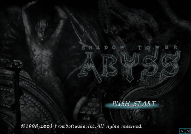 Title screen of the game Shadow Tower - Abyss on Sony Playstation 2