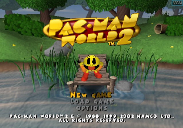 Title screen of the game Pac-Man World 2 on Sony Playstation 2