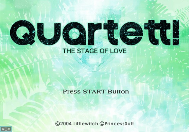 Title screen of the game Quartet! The Stage of Love on Sony Playstation 2