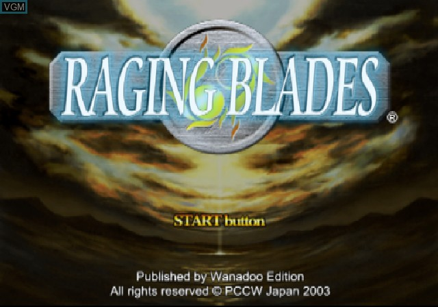 Title screen of the game Raging Blades on Sony Playstation 2