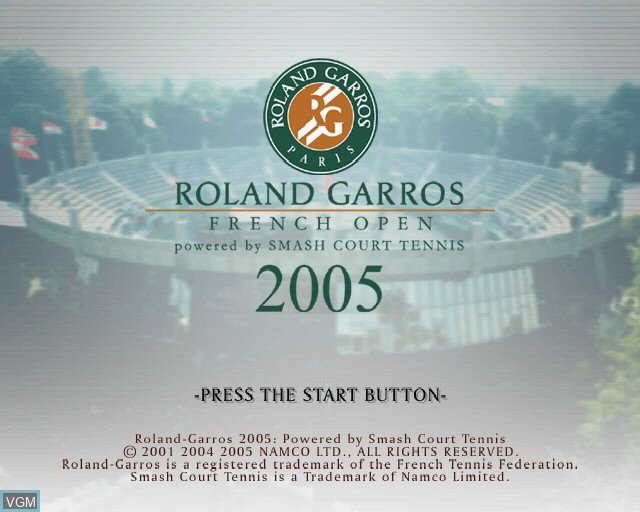 Title screen of the game Roland Garros 2005 - Powered by Smash Court Tennis on Sony Playstation 2