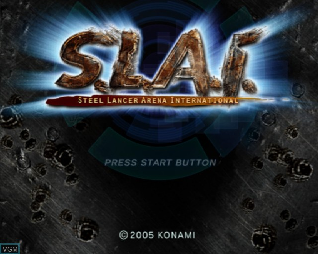 Title screen of the game S.L.A.I. - Steel Lancer Arena International on Sony Playstation 2