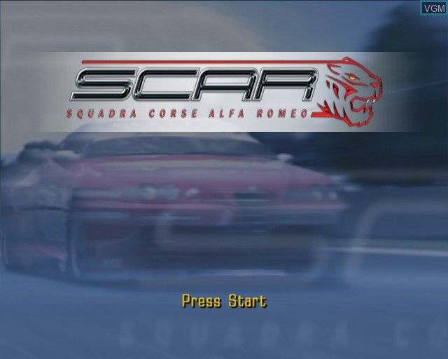 Title screen of the game S.C.A.R. - Squadra Corse Alfa Romeo on Sony Playstation 2