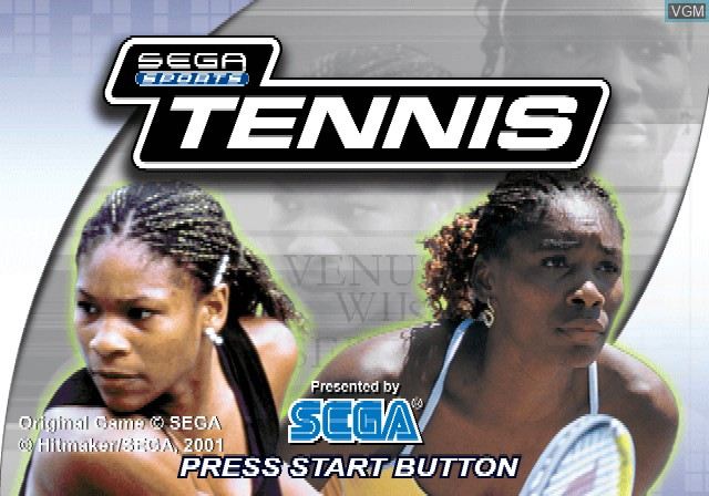 Title screen of the game Sega Sports Tennis on Sony Playstation 2