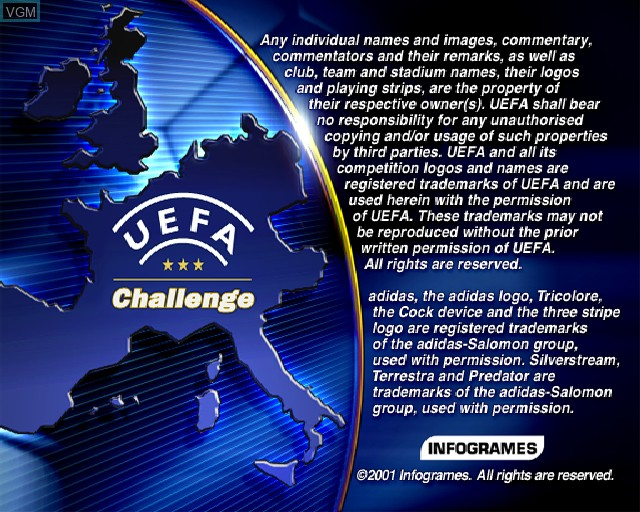 Title screen of the game UEFA Challenge on Sony Playstation 2