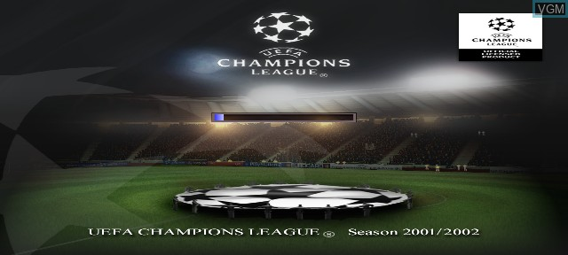 Title screen of the game UEFA Champions League Season 2001/2002 on Sony Playstation 2