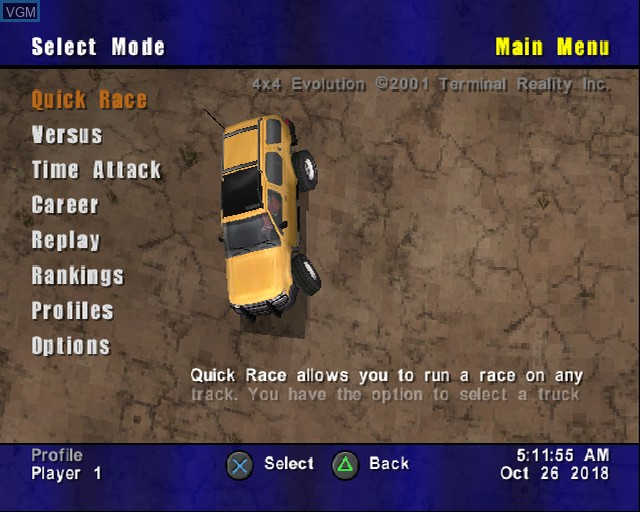 Menu screen of the game 4X4 Evolution on Sony Playstation 2