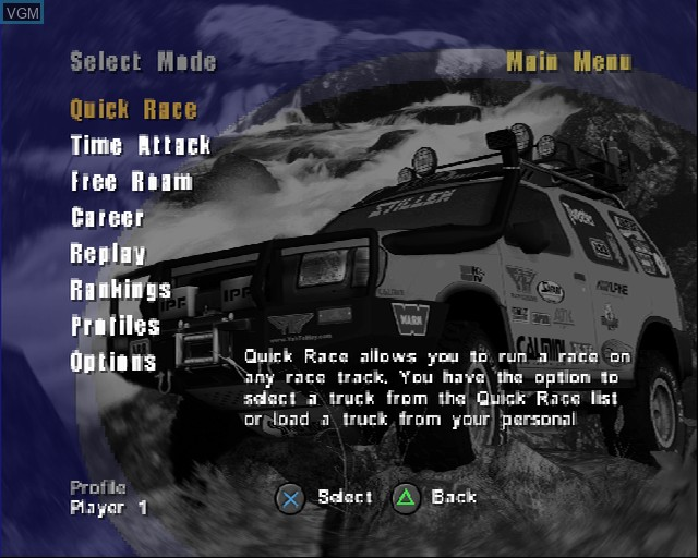 Menu screen of the game 4X4 EVO 2 on Sony Playstation 2
