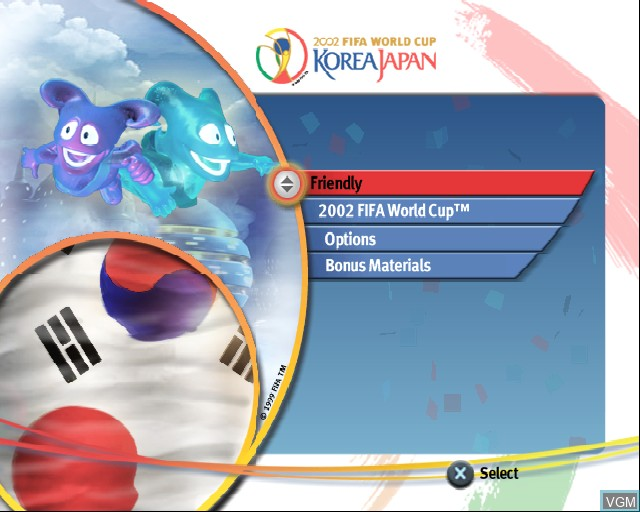Menu screen of the game 2002 FIFA World Cup on Sony Playstation 2