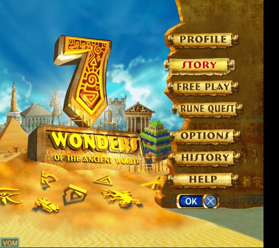 Menu screen of the game 7 Wonders of the Ancient World on Sony Playstation 2