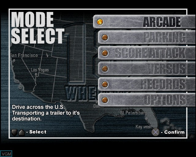 Menu screen of the game 18 Wheeler - American Pro Trucker on Sony Playstation 2