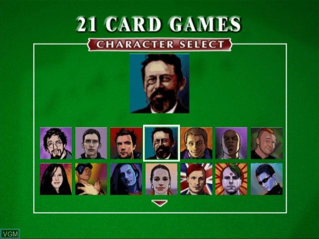 Menu screen of the game 21 Card Games on Sony Playstation 2