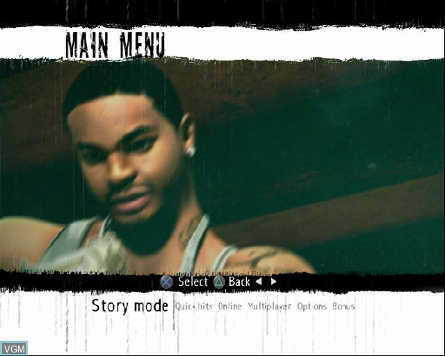 Menu screen of the game 187 Ride or Die on Sony Playstation 2