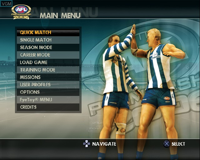 Menu screen of the game AFL Premiership 2006 on Sony Playstation 2