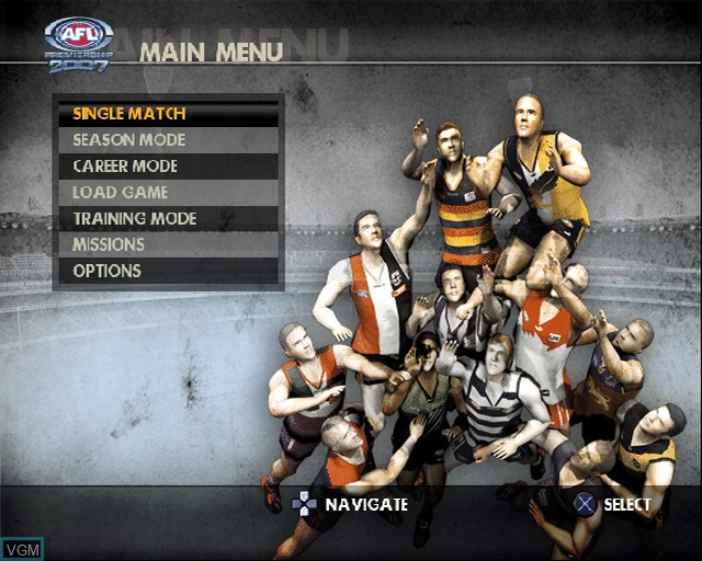 Menu screen of the game AFL Premiership 2007 on Sony Playstation 2