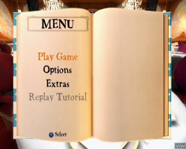 Menu screen of the game Ratatouille on Sony Playstation 2