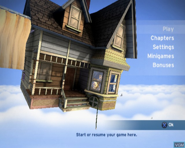 Menu screen of the game Up on Sony Playstation 2