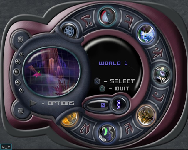 Menu screen of the game Stitch - Experiment 626 on Sony Playstation 2