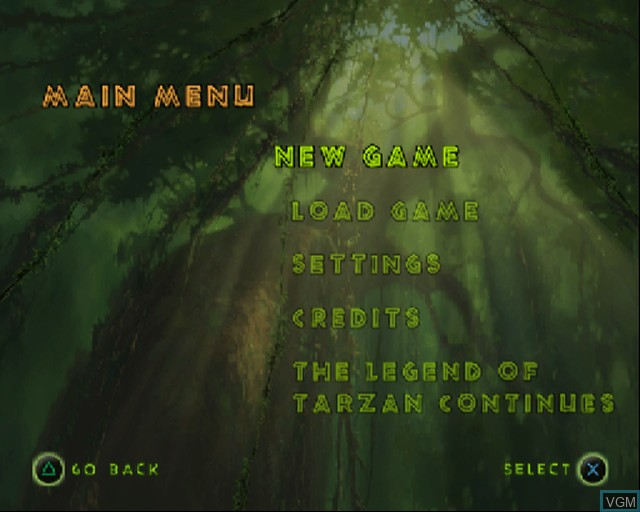 Menu screen of the game Tarzan - Freeride on Sony Playstation 2