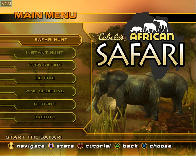 Menu screen of the game Cabela's African Safari on Sony Playstation 2