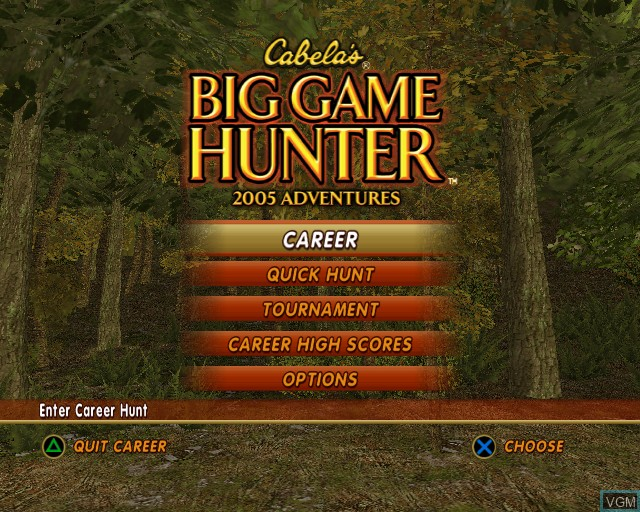 Menu screen of the game Cabela's Big Game Hunter 2005 Adventures on Sony Playstation 2