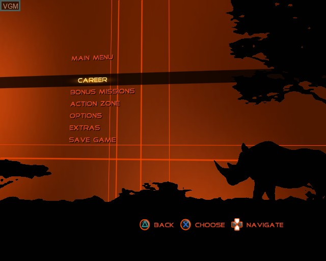 Menu screen of the game Cabela's Dangerous Adventures on Sony Playstation 2