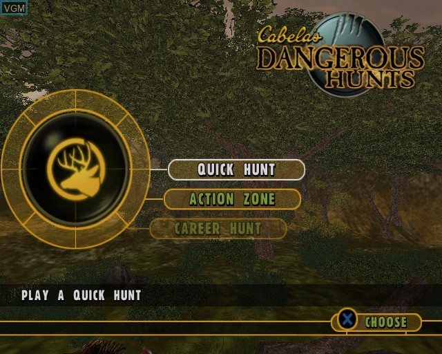 Menu screen of the game Cabela's Dangerous Hunts on Sony Playstation 2