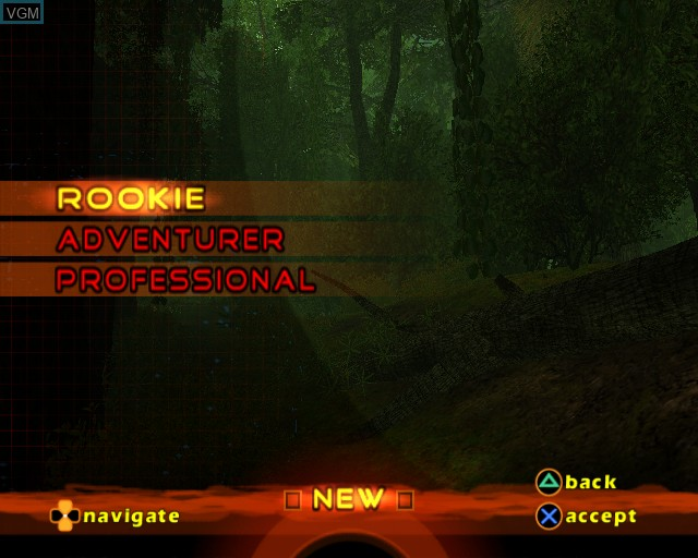 Menu screen of the game Cabela's Dangerous Hunts 2 on Sony Playstation 2
