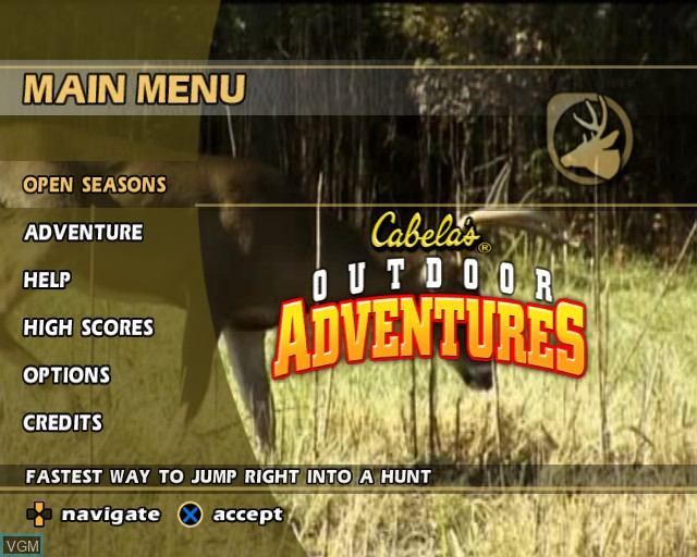 Menu screen of the game Cabela's Outdoor Adventures on Sony Playstation 2