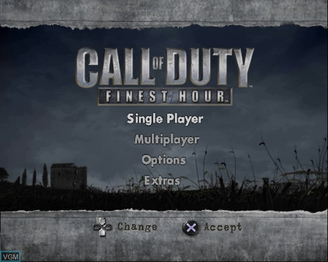 Menu screen of the game Call of Duty - Finest Hour on Sony Playstation 2