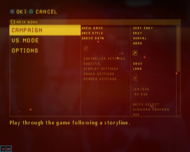 Menu screen of the game Ace Combat - The Belkan War on Sony Playstation 2