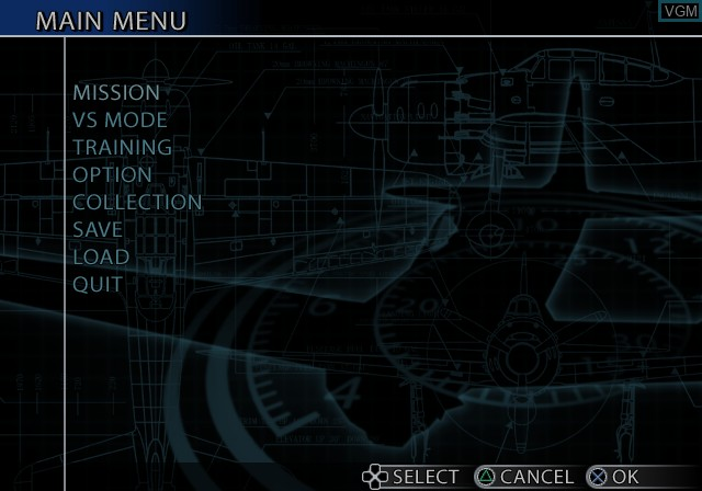 Menu screen of the game Aces of War on Sony Playstation 2