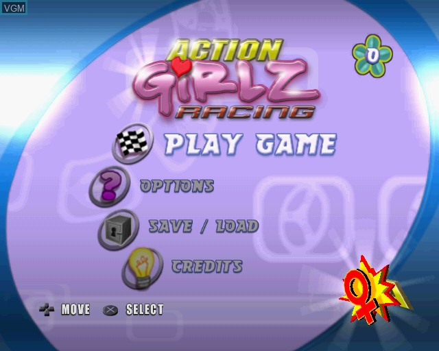 Menu screen of the game Action Girlz Racing on Sony Playstation 2