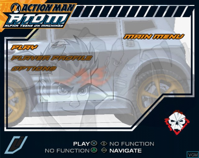 Menu screen of the game Action Man A.T.O.M. - Alpha Teens on Machines on Sony Playstation 2