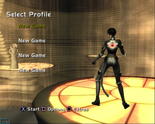 Menu screen of the game Aeon Flux on Sony Playstation 2
