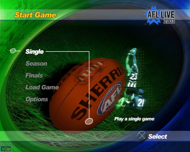 Menu screen of the game AFL Live 2003 on Sony Playstation 2
