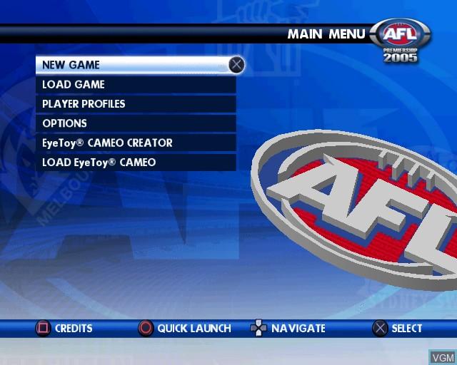 Menu screen of the game AFL Premiership 2005 - The Official Game of the AFL Premiership on Sony Playstation 2